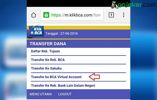 Masuk Menu Transfer ke BCA Virtual Account