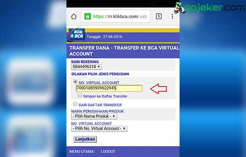 Masukkan Kode Virtual Akun Gojek
