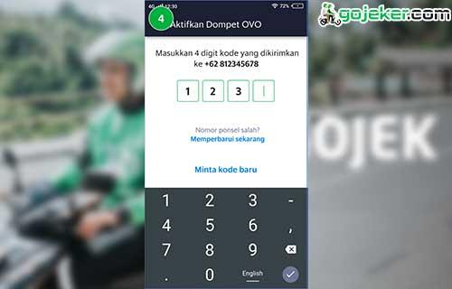 Input 4 digit kode yang dikirimkan Via SMS