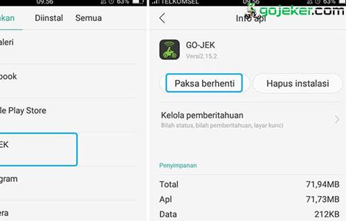 Paksa Aplikasi Gojek Untuk Berhenti