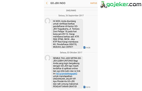 Contoh SMS Panggilan dari Gojek
