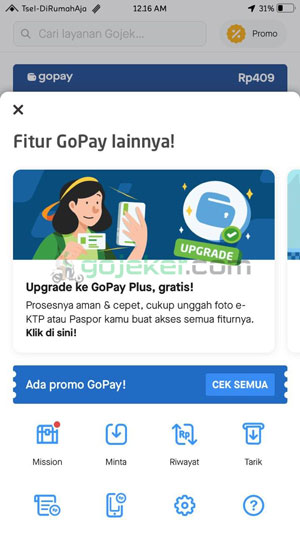 Upgrade GoPay Plus Gratis