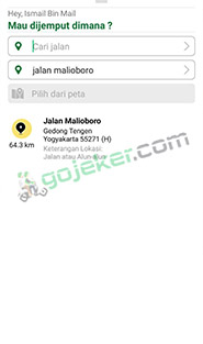 order Nujek Ride via Aplikasi