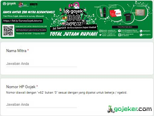 Cara Mengisi Survey Gojek Big Surprise