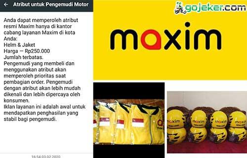 Membeli Atribut Resmi Driver Maxim