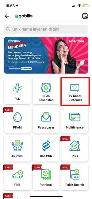 Pilih TV Kabel Internet