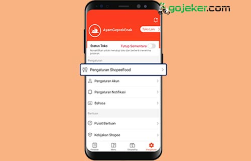 4 Klik Pengaturan Shopee Food
