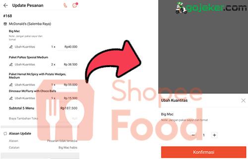 Cara Update Pesanan Shopee Food