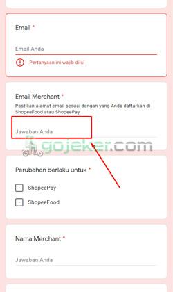 3 Masukkan Alamat Email Merchant
