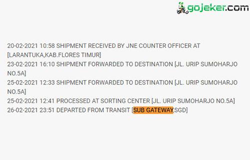 Arti Sub Gateway SGD JNE