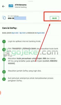 6 Salin Kode Virtual Account Gopay